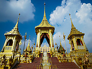 13 DECEMBER 2017 - BANGKOK, THAILAND:  South side of the Royal Crematorium on Sanam Luang in Bangkok. The crematorium was used for the funeral of Bhumibol Adulyadej, the Late King of Thailand. He was cremated on 26 October 2017. The crematorium is open to visitors until 31 December 2017. It will be torn down early in 2018. More than 3 million people have visited the crematorium since it opened to the public after the cremation of the King.    PHOTO BY JACK KURTZ