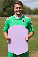 AFC Wimbledon goalkeeper Joe McDonnell (24) holding Fifa sign during the AFC Wimbledon 2018/19 official photocall at the Kings Sports Ground, New Malden, United Kingdom on 31 July 2018. Picture by Matthew Redman.