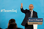 Home Secretary Sajid Javid takes questions from the media as he formally launches his bid to become the new leader of the Conservative Party and Prime Minister of the United Kingdom on 12th June, 2019 in London, United Kingdom.