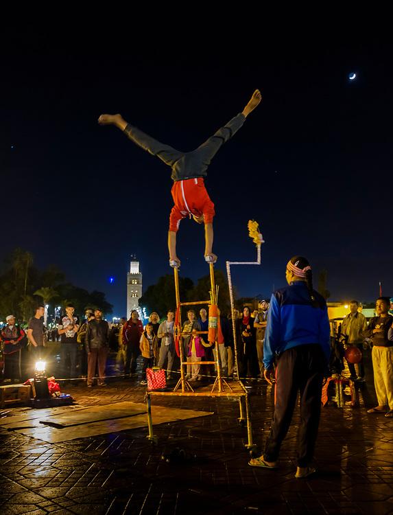 MARRAKESH, MOROCCO - CIRCA APRIL 2017: Entertainers in  the Jemaa el-Fnaa square in Marrakesh