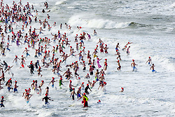 Annual new year's dive at Scheveningen Beach Resort in The Hague, The Netherlands on January 1st 2018. In the Netherlands the 1st of January is traditionally celebrated with a new year's dive ('Nieuwjaarsduik'). No matter how cold it is, at least 25.000 people plunge into the freezing water each January. Photo by Robin Utrecht/ABACAPRESS.COM