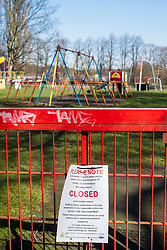 Closed Playground in Ecclesfield Park Sheffield. Third day emergency measures which were announced by Prime minister Boris Johnson on Monday evening (23rd march). Empty Spaces as people get the message to Stay at home.<br /> <br /> 26 March 2020<br /> <br /> www.pauldaviddrabble.co.uk<br /> All Images Copyright Paul David Drabble -<br /> All rights Reserved -<br /> Moral Rights Asserted -