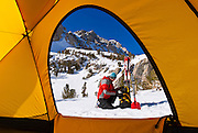 View from a yellow dome tent of a backcountry skier, Inyo National Forest, Sierra Nevada Mountains, California USA