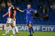 Lee Tomlin of Cardiff city (7) looks on.EFL Skybet championship match, Cardiff city v Sheffield Utd at the Cardiff City Stadium in Cardiff, South Wales on Tuesday 15th August 2017.<br /> pic by Andrew Orchard, Andrew Orchard sports photography.