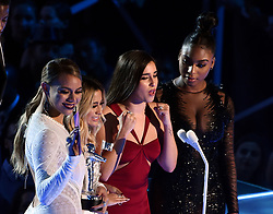 LOS ANGELES - AUGUST 27: L-R Dinah Jane, Ally Brooke, Lauren Jauregui and Normani Kordei of Fifth Harmony  accept the Best Pop Video award on the 2017 'MTV Video Music Awards' at The Forum on August 27, 2017 in Los Angeles, California. (Photo by Frank Micelotta/PictureGroup)