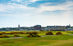 View of St Andrews town from the Old Course during Covid-19 lockdown in Fife, Scotland, UK