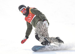 Switzerland's Nicolas Huber in run 2 of qualification for Men's Snowboard Slopestyle the PyeongChang 2018 Winter Olympic Games in South Korea.