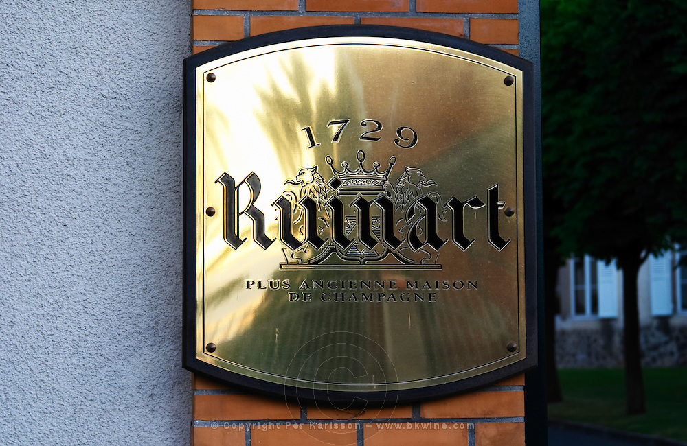 A polished brass sign saying that it is the oldest house in Champagne, Champagne Ruinart, Reims, Champagne, Marne, Ardennes, France