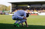 Leeds United defender Luke Ayling (2) reacts to a 2-1 defeat to Burton Albion during the EFL Sky Bet Championship match between Burton Albion and Leeds United at the Pirelli Stadium, Burton upon Trent, England on 22 April 2017. Photo by Richard Holmes.