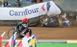 May 12, 2018 - Warsaw, Poland - Greg Hancock (USA), Emil Sayfutdinov (RUS), Krzysztof Kasprzak (POL) crash during 1st round of Speedway World Championships Grand Prix Poland in Warsaw, Poland, on 12 May 2018. (Credit Image: © Foto Olimpik/NurPhoto via ZUMA Press)