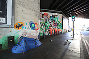 A tent of a homeless person is seen at the Borough Market close to London Bridge Central Station on Sunday, March 22, 2020. <br /> Homeless people in the United Kingdom facing the risk of death from Coronavirus. Last years alone, 320,000 people were recorded as homeless in Britain, analysis from housing charity Shelter suggests. It is a rise of 13,000, or 4%, on last year's figures and equivalent to 36 new people becoming homeless every day.<br /> For most people, the new coronavirus causes only mild or moderate symptoms, such as fever and cough. For some, especially older adults and people with existing health problems, it can cause more severe illness, including pneumonia. <br /> (Photo/Vudi Xhymshiti)