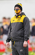 Wasps Head Coach Lee Blackett watches his side warm up before a Gallagher Premiership Round 10 Rugby Union match, Friday, Feb. 20, 2021, in Leicester, United Kingdom. (Steve Flynn/Image of Sport)