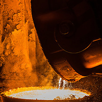 Tata Steel Scunthorpe - Heavy End - Steel Production , ladle pouring molten hot metal into crucible