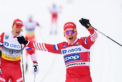 March 9, 2019 - Oslo, NORWAY - 190309 Alexander Bolshunov of Russia celebrates in men's 50 km classic technique during the FIS Cross-Country World Cup on March 9, 2019 in Oslo..Photo: Fredrik Varfjell / BILDBYRÃ…N / kod FV / 150211. (Credit Image: © Fredrik Varfjell/Bildbyran via ZUMA Press)