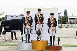 Podium BK Young Riders: 1 Waelkens Tahnee (BEL), 2 Borrey De Coninck Eline (BEL), 3 Roos Laurence (BEL)<br /> BK Young Riders<br /> Flanders Dressage Event Hulsterlo 2012<br /> © Dirk Caremans