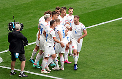 Czech Republic's Patrik Schick celebrates scoring their side's first goal of the game with team-mates during the UEFA Euro 2020 Group D match at Hampden Park, Glasgow. Picture date: Monday June 14, 2021.