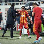 Kayserispor's Furkan OZCAL (C) during their Turkish superleague soccer match Besiktas between Kayserispor at BJK Inonu Stadium in Istanbul Turkey on Saturday, 15 October 2011. Photo by TURKPIX