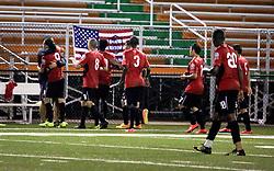 24 June 2015. New Orleans, Louisiana.<br /> National Premier Soccer League. NPSL. <br /> Jesters 0 - Atlanta Silverbacks 1.<br /> Silverbacks celebrate a goal. <br /> Photo©; Charlie Varley/varleypix.com