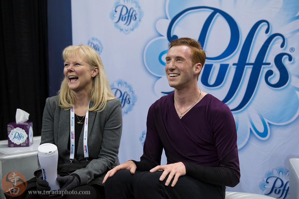 January 4, 2018; San Jose, CA, USA; Sean Rabbitt in the kiss and cry in the mens short program during the 2018 U.S. Figure Skating Championships at SAP Center.