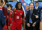Portugal Midfielder Renato Sanches punches the air and celebrates during the Euro 2016 final between Portugal and France at Stade de France, Saint-Denis, Paris, France on 10 July 2016. Photo by Phil Duncan.