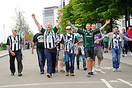 Green Army at Wembley - Plymouth Argyle fans outside the Wembley Stadium enjoying the build up to the Sky Bet League 2 play off final match between AFC Wimbledon and Plymouth Argyle at Wembley Stadium, London, England on 30 May 2016. Photo by Graham Hunt.