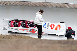 04.12.2011, Eiskanal, Igls, AUT, Viessmann FIBT Bob und Skeleton Weltcup, vierer Bob Herren, 1. Durchgang, im Bild Bob CAN 2 mit Chris Spring, Timothy Randall, Derek Plug, Graeme Rinholm // Bob Canada 2 with Chris Spring, Timothy Randall, Derek Plug, Graeme Rinholm during first run four Man Bob at FIBT Viessmann Bobsleigh and Skeleton world cup at Olympic ice canal, Innsbruck Igls, Austria on 2011/12/04. EXPA Pictures © 2011, PhotoCredit: EXPA/ Johann Groder