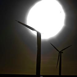 Wind turbines at the Drone Hill Wind Farm North.