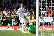 Leeds United striker Chris Wood (9) has his header on goal saved by Burton Albion goalkeeper Stephen Bywater (13) during the EFL Sky Bet Championship match between Burton Albion and Leeds United at the Pirelli Stadium, Burton upon Trent, England on 22 April 2017. Photo by Richard Holmes.