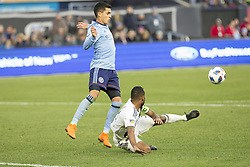 March 11, 2018 - New York, New York, United States - Ashley Cole (3) of LA Galaxy deflects ball from Jesus Medina (19) of NYC FC during regular MLS game at Yankee stadium NYC FC won 2 - 1 (Credit Image: © Lev Radin/Pacific Press via ZUMA Wire)