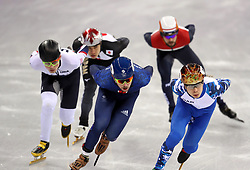 Great Britain's Farrell Treacy (centre) on his way to finishing fourth in the Short Track Speed Skating - Men's 1,000m Quarterfinal 3 at the Gangneung Oval during day eight of the PyeongChang 2018 Winter Olympic Games in South Korea.
