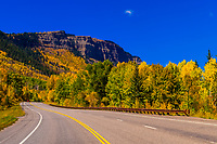 Fall color, Colorado Highway 550, San Juan Mountains, north of Durango, Colorado USA.
