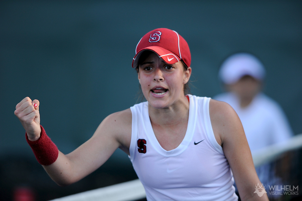 24 MAY 2011:  Nicole Gibbs of Stanford University celebrates a point against the University of Florida during singles play at the Division I Women's Tennis Championship held at the Taube Family Tennis Center on the Stanford University  campus in Stanford, CA. Florida defeated Stanford 4-3 to win the national team title. © Brett Wilhelm