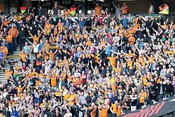 Wolves fans celebrate their 1-0 win over MK Dons  - Photo mandatory by-line: Nigel Pitts-Drake/JMP - Tel: Mobile: 07966 386802 29/03/2014 - SPORT - FOOTBALL -  Stadium MK - Milton Keynes - Milton Keynes Dons v Wolverhampton Wanderers - Sky Bet League One