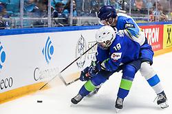 Ken Ograjensek of Slovenia vs Alikhan Asetov of Kazakhstan during ice hockey match between Slovenia and Kazakhstan at IIHF World Championship DIV. I Group A Kazakhstan 2019, on April 29, 2019 in Barys Arena, Nur-Sultan, Kazakhstan. Photo by Matic Klansek Velej / Sportida