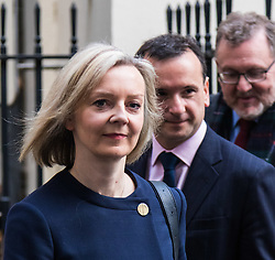 London, November 22 2017. Chief Secretary to the Treasury Elizabeth Truss, Secretary of State for Wales Alun Cairns and Scotland Secretary David Mundell leaves the UK cabinet meeting on budget day at Downing Street. © Paul Davey