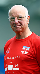 England's Tommy Charlton during the national anthems on his England debut before the Walking Football International match at The AMEX Stadium, Brighton.
