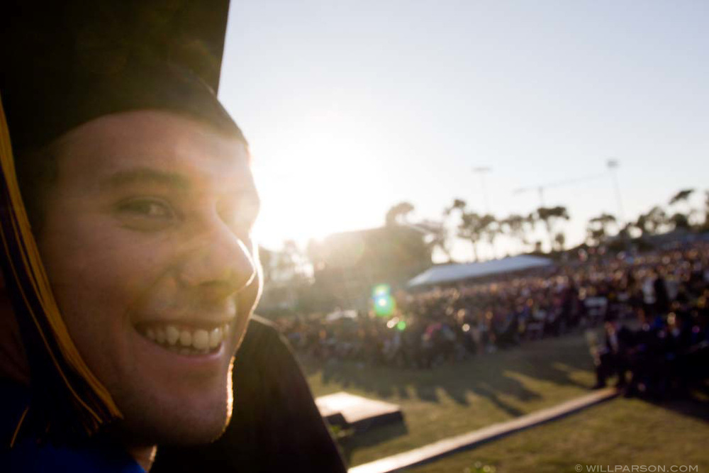 Seniors line up to receive their diplomas during graduation ceremonies at the University of California, San Diego.