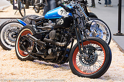 Custom Harley-Davidson Sportster at the Custom and Tuning Show, which was part of the big Motor Spring show in Moscow, Russia. Friday April 21, 2017. Photography ©2017 Michael Lichter.