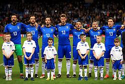Italy's (left-right) Gianluigi Buffon, Marco Parolo, Mattia De Sciglio, Daniele Rugani, Alessandro Florenzi, Marco Verratti and Federico Chiesa during the national anthems