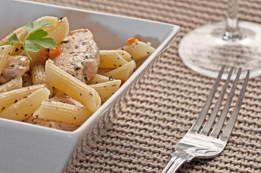 Chicken & pesto pasta with red chilli.