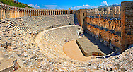 The Roman Theatre of Aspendos, Turkey.  Built in 155 AD during the rule of Marcus Aurelius, Aspendos Theatre is the best preserved ancient theatre in Asia Minor. 96 metres in diameter it can seat 7000 the csaenae frond or backdrop wall is still intact. Following Hellenistic traditions the theatre is built into the hillside below the Acropolis. .<br /> <br /> If you prefer to buy from our ALAMY PHOTO LIBRARY  Collection visit : https://www.alamy.com/portfolio/paul-williams-funkystock/aspendos-ampitheatre-turkey.html<br /> <br /> Visit our TURKEY PHOTO COLLECTIONS for more photos to download or buy as wall art prints https://funkystock.photoshelter.com/gallery-collection/3f-Pictures-of-Turkey-Turkey-Photos-Images-Fotos/C0000U.hJWkZxAbg