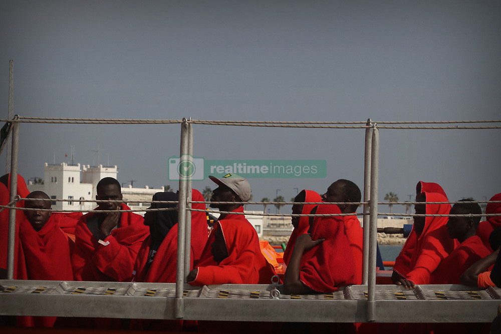April 26, 2018 - April 26, 2018 (malaga) Rescued 80 people in the Alboran Sea of sub-Saharan origin, 70 men, 6 women and 4 children who were sailing in an under-embarkation that has been intercepted 38 miles southwest of the coast of Malaga. The boat has been located at around 18.30 hours by the Sasemar 102. The Salvamar Alnitak, previously mobilized and based in Malaga, has been the one that has finally rescued the occupants of this boat, which were in apparent good state of health. Immigrants, all of them of Sub-Saharan origin, have been transferred to the Port of Malaga. (Credit Image: © Lorenzo Carnero via ZUMA Wire)