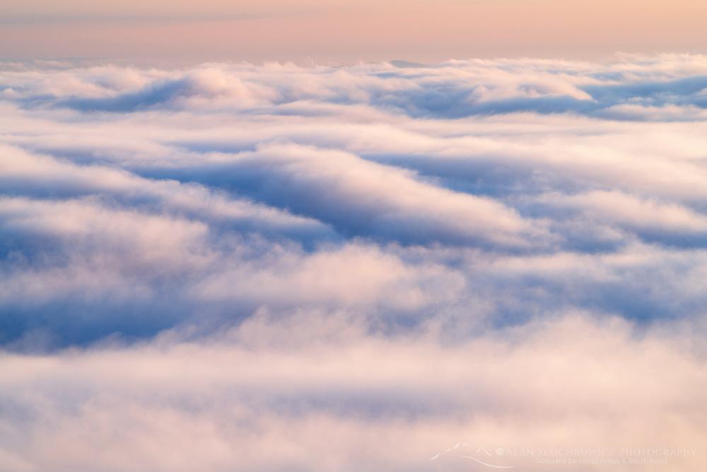 Fog over Strait of Juan de Fuca at sunrise. Seen from Olympic National Park Washington
