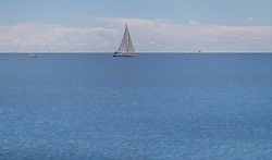 THEMENBILD - ein Segelboot am Horizont, aufgenommen am 25. Juni 2018 in Porec, Kroatien // a sailboat on the horizon, Porec, Croatia on 2018/06/25. EXPA Pictures © 2018, PhotoCredit: EXPA/ JFK