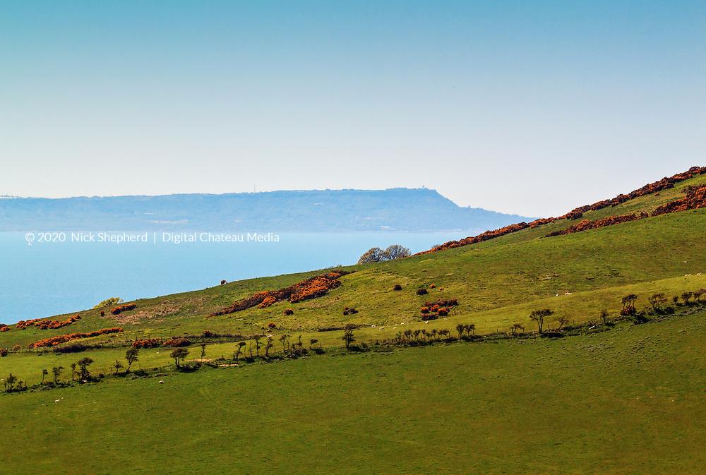 View from Kimmeridge looking to Portland Bill in Dorset, UK.