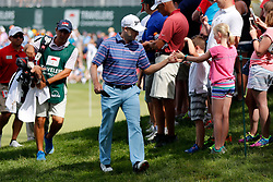 June 22, 2018 - Cromwell, CT, U.S. - CROMWELL, CT - JUNE 22: Russell Knox of Scotland greets a fan on the way to 18 during the Second Round of the Travelers Championship on June 22, 2018, at TPC River Highlands in Cromwell, Connecticut. (Photo by Fred Kfoury III/Icon Sportswire) (Credit Image: © Fred Kfoury Iii/Icon SMI via ZUMA Press)