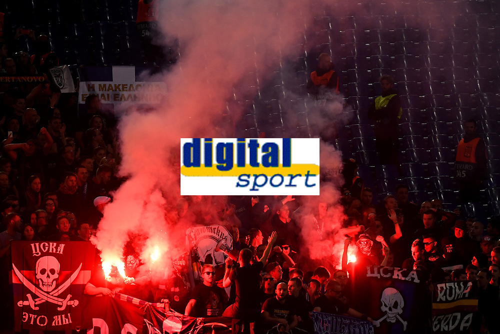CSKA fans light flares during the Uefa Champions League 2018/2019 Group G football match between AS Roma and CSKA Moscow at Olimpico stadium Allianz Stadium, Rome, October, 23, 2018 <br />  Foto Andrea Staccioli / Insidefoto