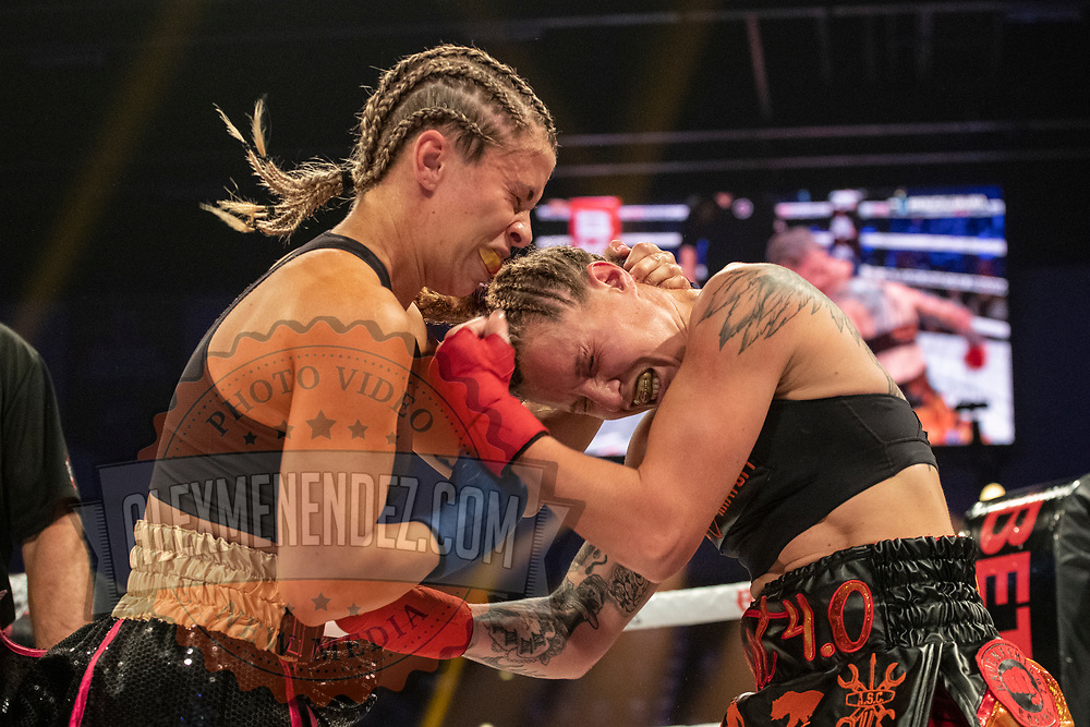 TAMPA, FL - FEBRUARY 06: Paige Van Zant (R) fights Britain Hart during the BKFC KnuckleMania event at RP Funding Center on February 6, 2021 in Tampa, Florida. (Photo by Alex Menendez/Getty Images) *** Local Caption *** Paige Van Zant; Britain Hart