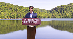 Prime Minister Justin Trudeau announces his government's intention to ban single-use plastics as early as 2021 during a news conference in Mont-Saint-Hilaire, Quebec, Canada, on Monday June 10, 2019. Photo by Paul Chiasson/CP/ABACAPRESS.COM