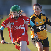 28 November 2010; Aoife Davoren, Corofin, Co. Clare, in action against Catherine Glennon, Four Roads, Co. Roscommon. All-Ireland Junior Camogie Club Championship Final, Corofin, Co. Clare v Four Roads, Co. Roscommon, Duggan Park, Ballinasloe, Co. Galway. Picture credit: Ray Ryan / SPORTSFILE *** NO REPRODUCTION FEE ***